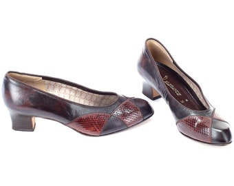 5c33aefa957b US size 7.5 Patchwork Flat Pumps 80s Leather Slip On Comfortable Fit Vintage  Snakeskin Details Brown Shoes Formal Heels 1980s EUR 38 UK 5
