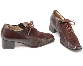 069ddc0dcd US women 6.5 Heeled Oxford Shoes Retro Office Brown Suede Vintage 90s Block  Stacked Heel Brogues Lace Up Leather Tomboy Shoes . Eur 37 UK 4