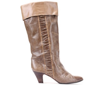 d694cfaf6400 US size 6.5 Slouch Cone Heel Boots 80s Brown Leather Pull On Boots Vintage  Footwear Women Heeled Leather Boots Girlfriend Gift. Eur 37 Uk 4