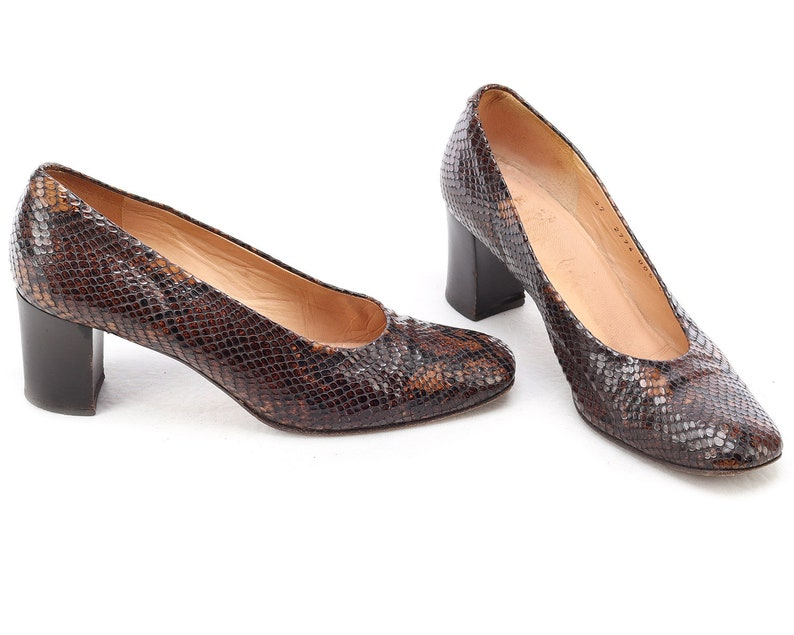 e04dbc4e53a83 US 6.5 Snakeskin Patterned Pumps Midi Heel Retro 80s Shoes Vintage Brown  Pumps Italian Quality Leather Heels Leather Sole EUR 37 UK 4