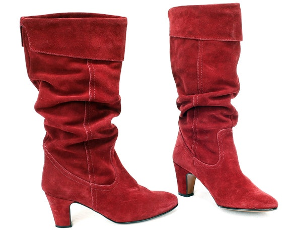 837db89fdd47 US size 6.5 Suede Red Boots 80s Slouch Cone Heel Suede Leather