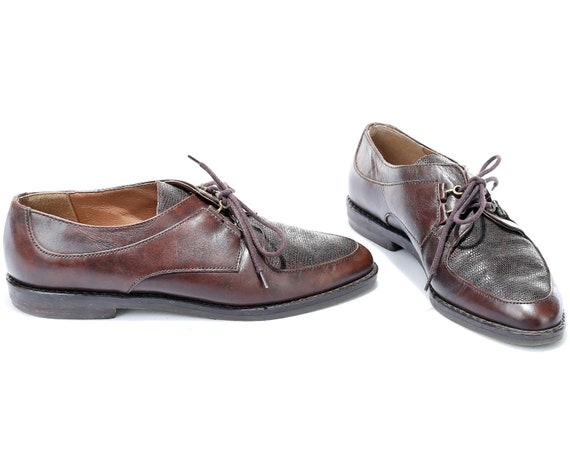 Leather 4 Shoes Shoes Ladies Up Hipster Oxfords Brown Manly 80s 6 size 37 UK Vintage Derby Made Women Italy US Retro 5 Lace Eur Shoes in wAa7qY4x