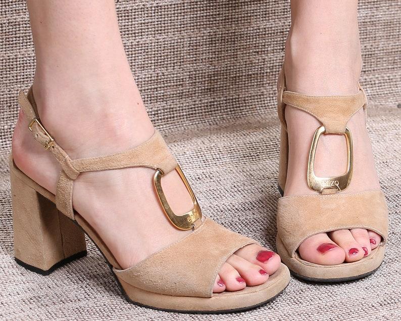 7384da134f2b9 US 8 Boho Platforms Sandals 70s Pastel Beige Suede Heels Vintage Chunky  High Heel Disco Shoes Ankle Strap Platforms. EUR 38.5 UK 5.5