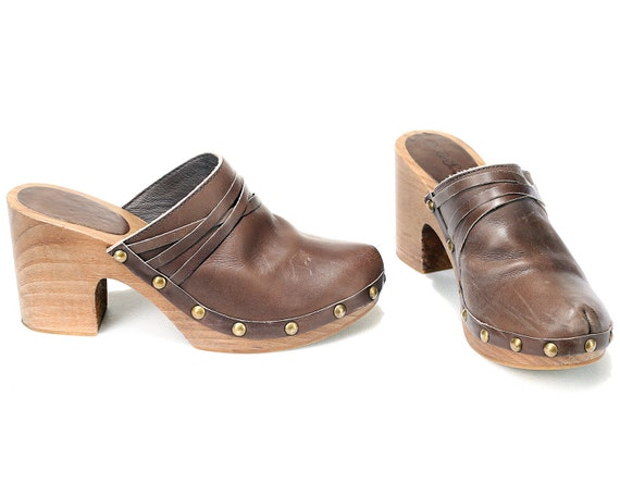 Uk Clogs 90s Mule in 8 6 90s Clogs Vintage Spain Made Wooden 5 Eur 39 Wooden women Heels Leather US Clogs Platform Chunky Brown Retro 7w0Hqzgn