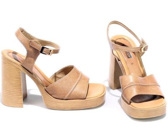 sz Shoes 6 70s Heel UK 6 Beige Size Sandals Leather 4 Us Retro 5 Disco Eur 37 Us Chunky 1970 Leather PLATFORM 5 xvY6ZAYT