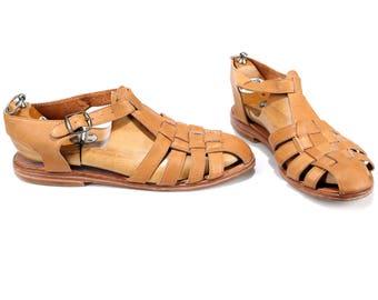 US men 10 Gladiator Sandals 70s Handmade Woven Braided Greek Leather Beige Summer Casual Hipster Indie Retro Footwear  Uk 9.5, Eu 44