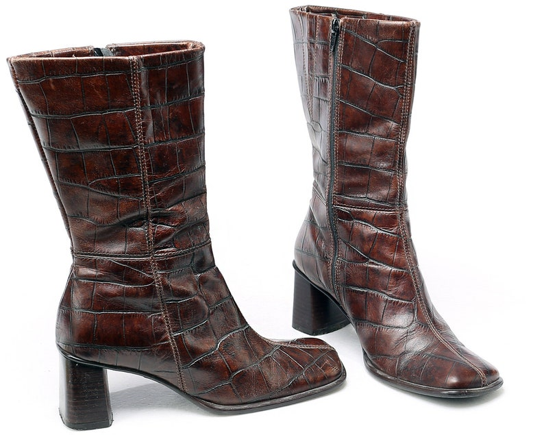 71fc06476202f Women Us 6.5 Brown Half Boots 90s Vintage Brown Leather Boots Reptile  Pattern Chunky Block Heel Side Zipper Booties UK 4 EUR 37