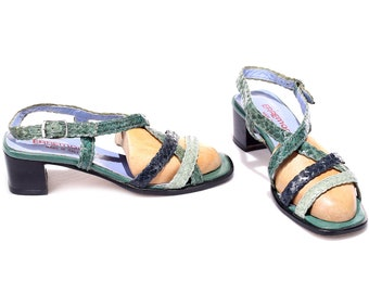 US women 9 Crisscross Strap Braided Sandals Three Tone Green Sandal Heels 90s Leather Summer Heels Boho Retro Style Shoes . Eur 39.5 UK 6.5