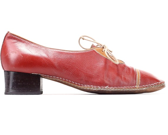 UK Women Leather Shoes Heels size 5 Flexible Eur 70s Orange 37 Vintage with Up US 6 4 Heeled Red Lace Retro Sole Oxfords Shoes dBaqw0wxz