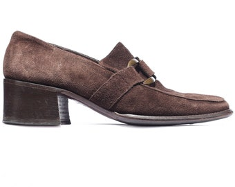 Block Heel Loafers Shoes Suede 70s Buckle Loafers Brown Bohemian Chunky Loafer Buckle Strap Stable Heel Slip on Shoes US 5.5, EU 36, UK 3