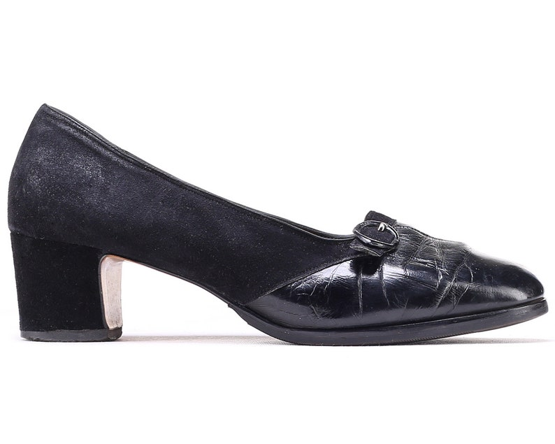 005f2ab566d1c US size 9.5 Black Formal Shoes Chunky Heel 80s Suede Leather Vintage Retro  Granny Pumps Wide Fit European Quality Leather Sole UK 7 EUR 40