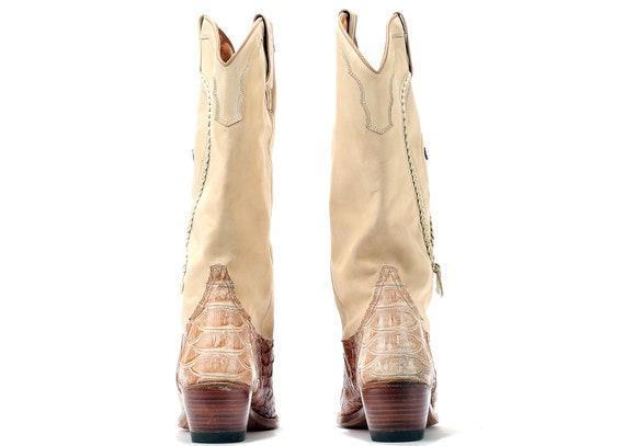 girl extravagante Boots Reptile Femme 90 6 8 US Cowboy cow Boots 39 bottes Eur cuir Sancho Western s Croc Beige doux 5 UK bottes Taille en motif CXfqwH1x