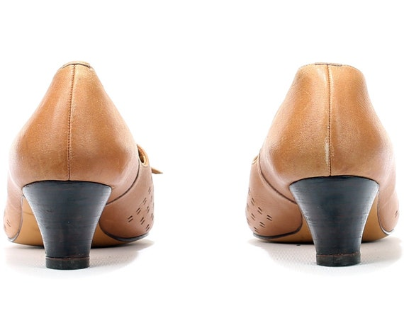 Pointed Comfortable 70s 8 Fit Heels Wide US Retro Medium 39 Shoes UK EUR Heel High size Leather 6 5 Quality 1970s Toe Low Shoes Bohemian XqpXOzw