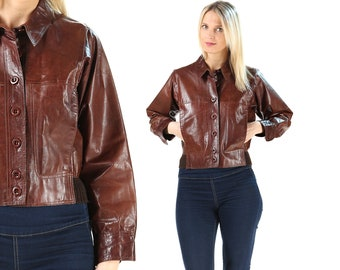 Leather Bomber Jacket 70s Button Up Vintage Brown Jacket Women Short Jacket Made in Italy 70s Fashion Vinyl Biker Jacket Boho Wear . Small