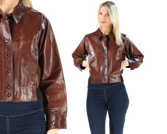 Leather Bomber Jacket 70s Button Up Vintage Brown