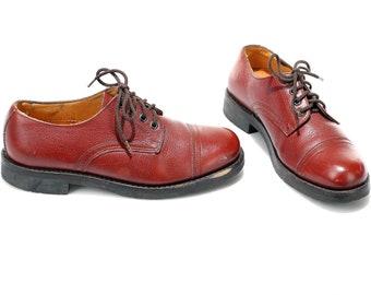 US size 8 Handmade Vintage Shoes Cap Toe Men Lace Up Shoes Retro Style Dress Shoes Bourbon Brown Leather Shoes 80s Footwear . Eur 41 UK 7.5