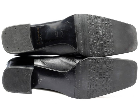 Vintage 39 Chunky Leather Minimal Elegant 5 Uk European Style 80s Heel Loafers 8 6 Germany Black Eur Office size Toe Shoes Square Shoes xwqn8Pg6