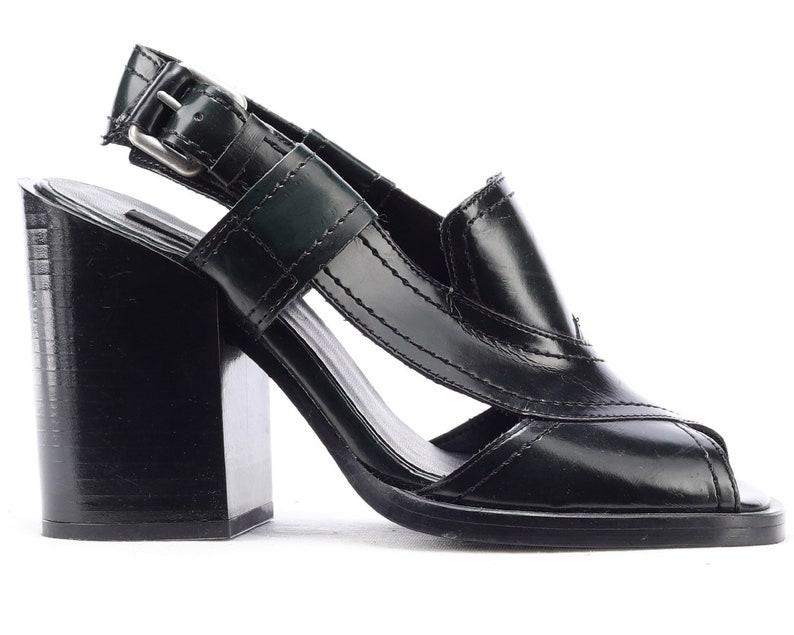 a6ac89ceb2f US 6.5 Platform Sandals Vegan 90s Club Kid Black Faux Leather Block Heel  Vintage Women Hipster Slingback Peep Toe Chunky Shoes . EUR 37 UK 4