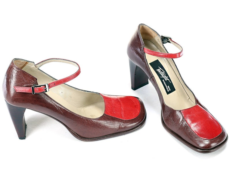 b5bf8009c9e92 Us size 6.5 Retro Mary Janes Shoes 70s Luxury Red Brown Leather High  Stacked Heel 1970s Maryjanes Shoes Boho Ankle Strap Italy Eur 37 Uk 4