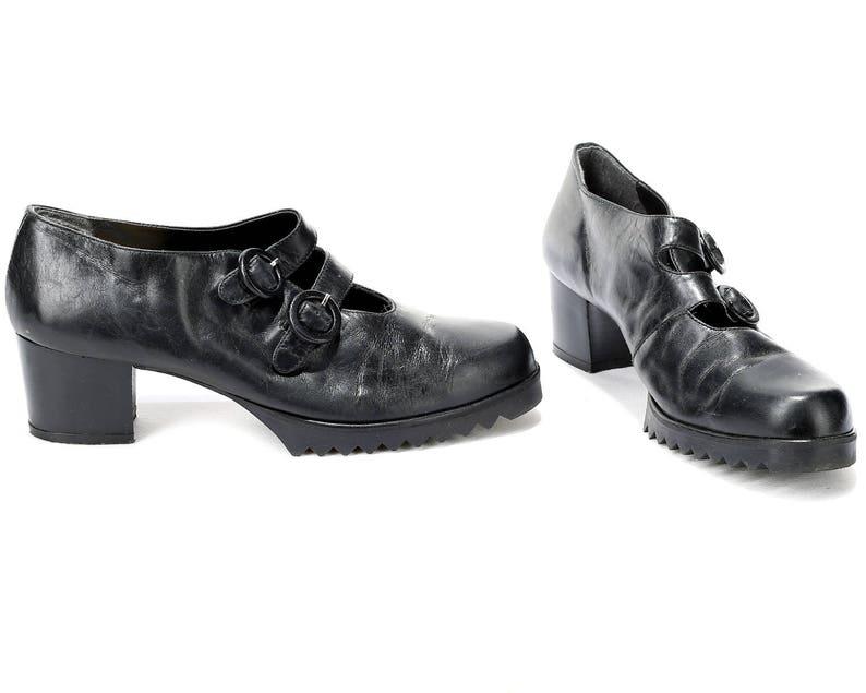89f565aadbbf US women 9.5 Mary Jane Heels 70s Retro Shoes Vintage Double