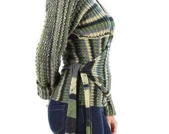 Wrap Hand Knit Sweater 70s Green Striped Wrap Top Vintage 70s Clothing Tie Waist Top Chunky Knitwear Wrap Cardigan Boho Unique . Small