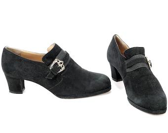 US Women 7.5 Victorian Shoes 80s Monk Strap Heels Pumps Retro Shoes Suede Leather Vintage Black 1980s Flat Wedding Shoes Italian Uk 5 Eur 38