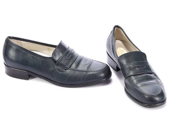 cbc26919d08be 80s Moccasins Blue size Leather 37 5 On Loafers 4 women Germany Uk ...