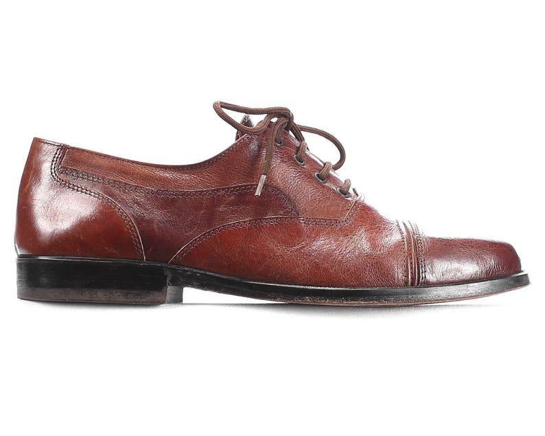 8d0e50d03f1c0 Us men 8 Lace Up Shoes for Men 90s Brown Leather Vintage Oxfords Derby  Comfortable High Quality Wide Fit Cap Toe Shoe Men Gift Eur 41 Uk 7.5