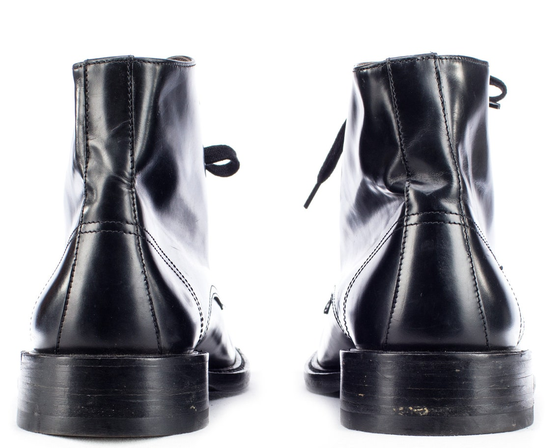 US men 9.5 Luxury Ankle Boots 90s Black Leather To Boots New York  Adam Derrick Hand Made Lace Up Leather Sole Booties . size Eur 43 ,  UK 9