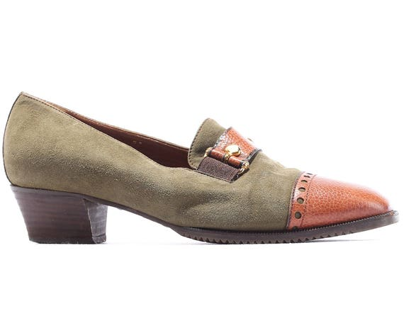 9c0a74b23fc55 Women US 5 Retro Loafers 80s Suede Leather Two Tone Shoes Slippers Brown  Moss Green Cap Toe Europe Quality Flats, UK 3, Eur 36 sku 3979