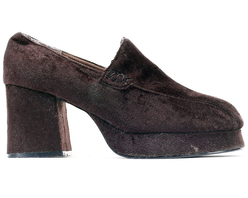 46ae6aa603ded US 6.5 Platforms 1970s Chunky Shoes Slip On Vintage Boho Velour Leather  Lining Footwear Retro Style High Heel Disco Shoes. EUR 37 UK 4