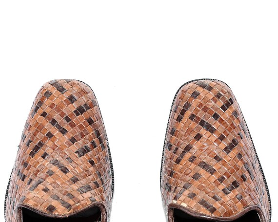 Brown Retro US Vintage Heels UK Brazil 8 Heels Shoes Heel in women Bohemian 80s 5 EUR 6 Block Shoes Braided Loafer Made 39 Leather Woven qHHr0wFAx