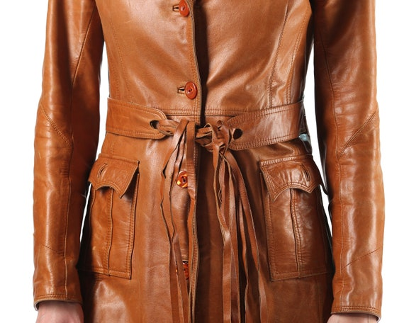 70s Length Trench Slim Brown Hippie Leather Biker Spy Punk Coat Medium Jacket Steampunk Jacket Women Fitted Trenchcoat Vintage Knee Retro tqgXRA5w