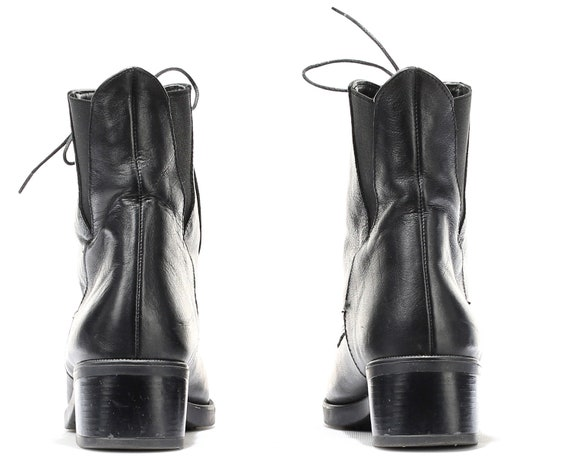 Boots Comfortable Boots 90s Classic Eur Low Vintage 4 6 Leather 90s Boots women 5 Black Footwear US 37 UK Grunge Heel Retro Ankle 0w7UxqFS44