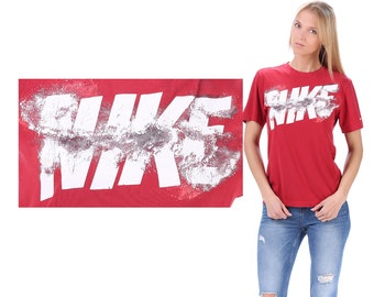 Red Nike T Shirt 90s . Relax Fit Red White Spell Out Logo Active Wear Outside Activity Sports Shirt Logo Men Women Unisex Cotton Medium