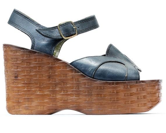 87be6f26a06 ... Vintage 5 Sandals Platform size Mega 36 Wedge Platform Footwear EUR  Navy 5 70s Ankle UK ...