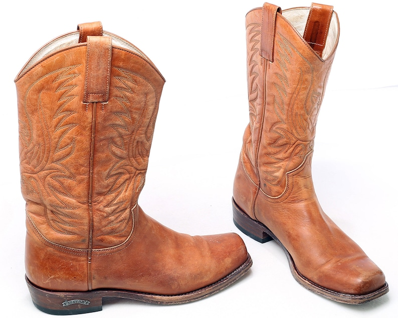 a8b5a1e4921 US Men 10 Cowboy Boots Sendra 80s Vintage Biker Motorcycle Boots Brown  Leather Festival Leather Sole Distressed Western , Eur 44 , UK 9.5