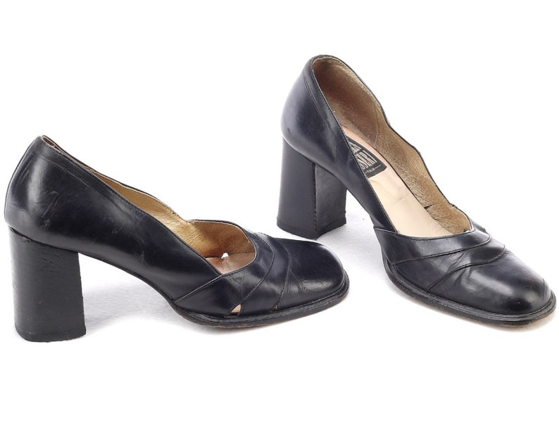95b2f452288ab US size 6 Black Formal Shoes Chunky Heel 90s Leather Vintage Retro Pumps  Regular Fit Leather Sole European Quality Italy UK 3.5 EUR 36