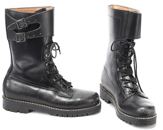 Punk US UK Army Thick Boots Military 45 Combat Chunky 80s Underground Biker Platform 10 11 Rock Mens Boots Eur Leather 5 Black rxHOqrZ