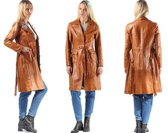 Vintage Leather Trench Coat 70s Knee Length Brown Slim Trenchcoat Steampunk Biker Punk Retro Hippie Jacket Women Spy Jacket Fitted Medium
