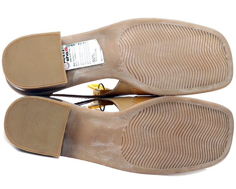 US 8.5 Beige Mary Janes 90s Flats Vintage Slide On Sandals Three Tone Leather Flats Anti Shock Flexible Sole Women Eur 39 Uk 6