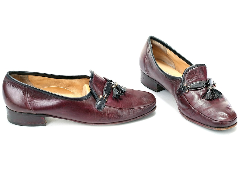 US women 10 Tassel Loafers Leather 80s Burgundy Brown Vintage Loafers Flexible Sole Casual Retro Footwear Everyday Flats Eur 41 Uk 7.5