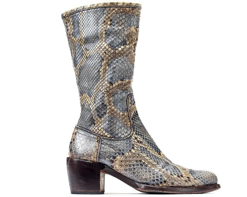 c3ab71877a4 US women's 8 Luxury Python Boots 80s Rocco P. Genuine Snakeskin Leather  Cowboy Western Designer Boots Vintage Gray Beige. Eur 38.5 Uk 5.5