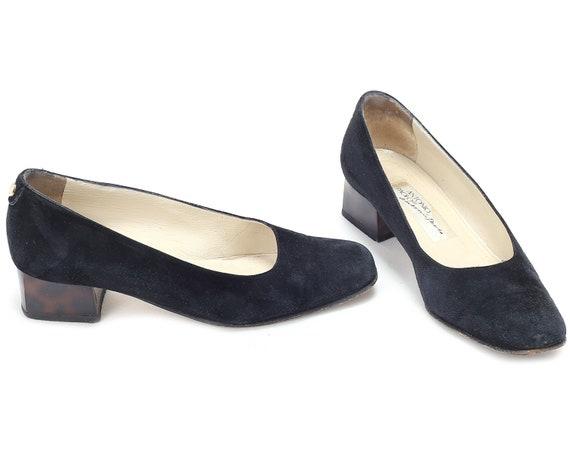 Women Minimalist 5 Ons EUR Vintage 3 Slip Heel US Lady 90s Low Office size 5 Suede Pumps Black Gift Black Heels Business UK 36 Shoes xFqHwaq