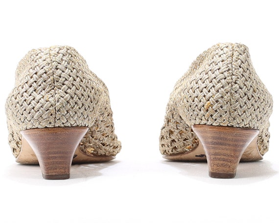 Made Vintage Shoes 3 Ballet 5 Pumps Retro Eur Italy 70s 5 women Crochet Sheer Gold Heel Low US 6 Shoes Metallic Uk Mod Shoes in Braided 36 8vRq4OF