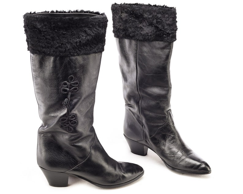 dd7e4f12938ab US size 6 Slouch Leather Boots 80s Black Cone Heel Boots Royal Siberian  Look Genuine Leather Pull On Faux Fur Lined Vintage Eur 36, UK 3.5