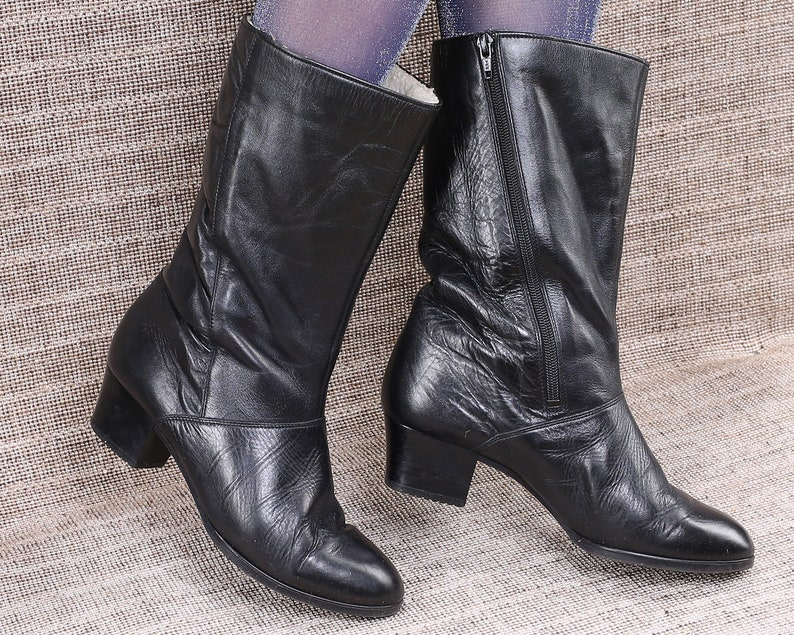50dd0cfa2b85 US size 8 Slouch Cone Heel Boots 80s Black Leather Insulated