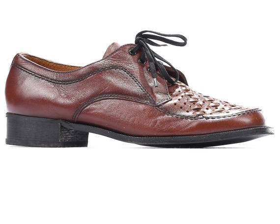 Us Men 8 Braided Shoes Oxford 80s Brown Retro Bask