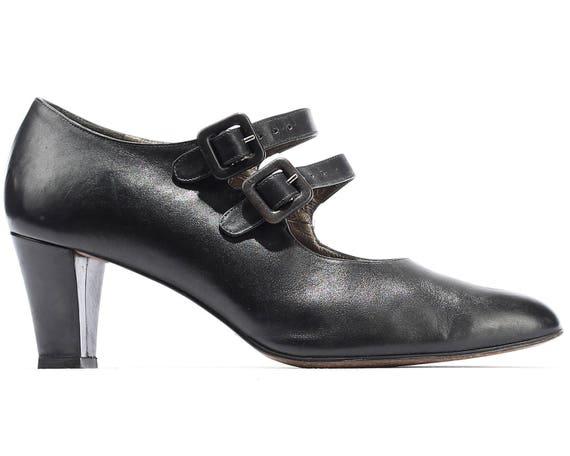 Rétro 5 Noir Plat Mère Italien Deux Us Qualité Années Bracelet Vintage À Lanières Taille Cuir Talons Grand 80 6 Clapet Chaussures ymNO8vn0w