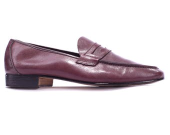 Us men 8  Loafers Red 70s Driver Shoes Vintage Leather Slip On Burgundy Moccasins Retro Penny Italian Loafers  Eur 41, Uk 7.5